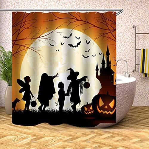 LvJin Badezimmer Duschvorhang Halloween Fledermaus Kürbis Laterne wasserdichte Bad Vorhänge für Badewanne Baden 12 Haken Duschvorhänge pattern-12 180 * 180CM