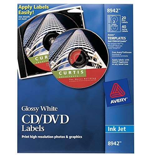 Avery CD Labels, Inkjet Glossy, 20 Pack, White (AVE8942)