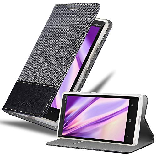 Cadorabo Hülle für Nokia Lumia 929/930 in GRAU SCHWARZ - Handyhülle mit Magnetverschluss, Standfunktion & Kartenfach - Hülle Cover Schutzhülle Etui Tasche Book Klapp Style