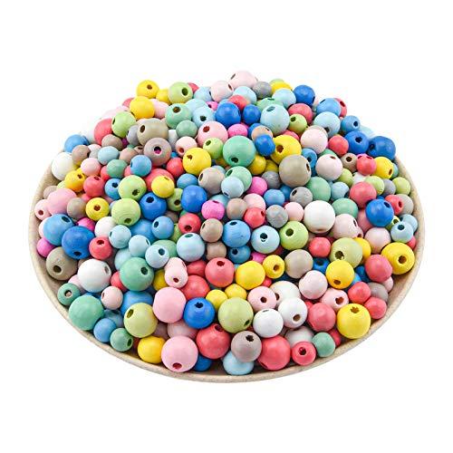 tao pipe 600 Stück Bunte Holzperlen, 8mmm, 10mm, 12mm Runde Bastelnperlen zum Auffädeln Bunte Perlen mit Loch für DIY Schmuck Armbänder Anhänger Handwerk