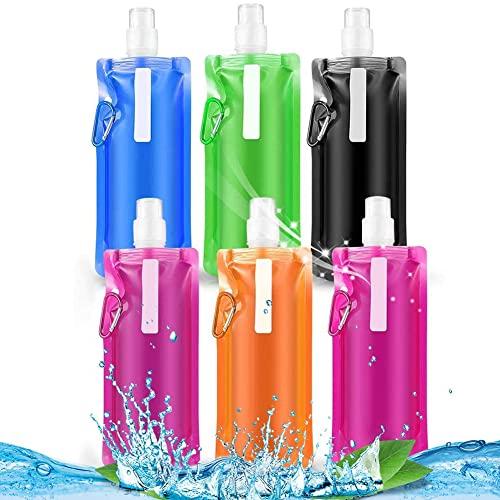 BESTZY Bottiglia d'Acqua Pieghevole Bottiglia di Acqua Potabile Riutilizzabile con Clip Bottiglie d'Acqua Sportive Anti Perdita di Peso Leggero per attività all'Aperto,6 Colori