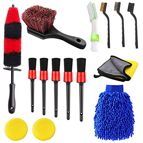 Jaronx 15 PCS Car Wheel & Tire Brush Set, 17 Inches Long Handle Rim Wheel Brush, Short Handle Wheel Brush, Detailing Brushes, Wash Mitt, Vent Duster, Wax Applicator Pads, Washing Towels, Wire Brushes