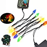 LED Christmas Lights Charging Cable Android, AOSOK Micro USB Bulb Charging Cable, 50 Inch 10 LED Multicolor Cable for Samsung Galaxy S7 S6 S7 Edge S5,Note 5 4,LG G4,HTC,PS4,Camera,MP3