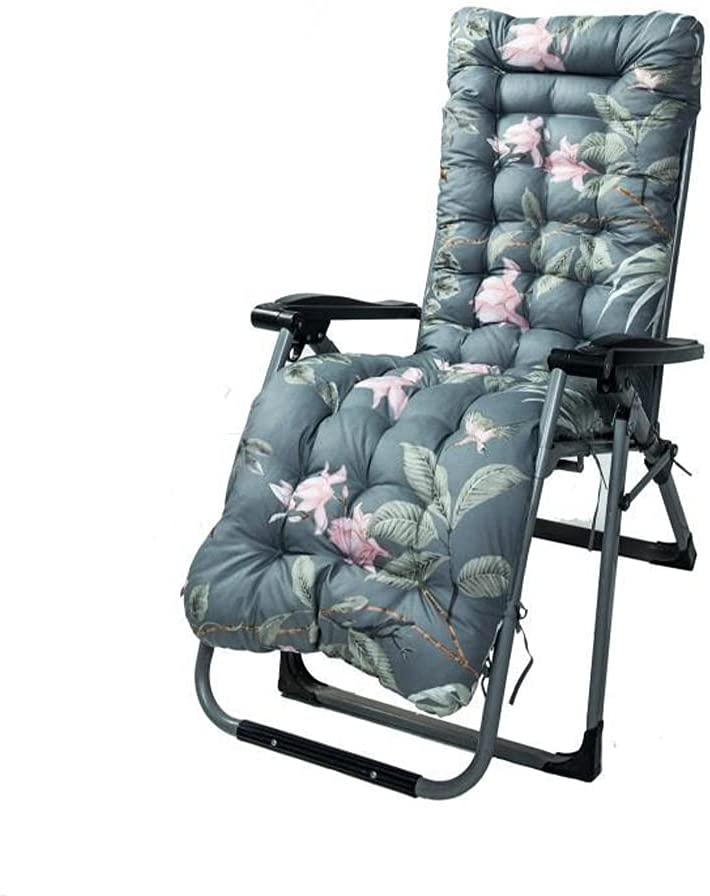 TTHUST Indoor Outdoor Sun Lounger Cushion Thick Floral Printed Cover Garden Patio Recliner Cushions Non-Slip High Back Chair Cushions for Back Pain Relaxer Pad