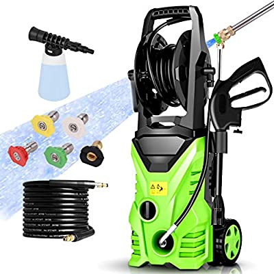 Power Washer Homdox Pressure Washer 2850PSI 1.7GPM Electric Pressure Washer 1800W High Power Washer Surface Cleaner Machine with Hose Reel & Detergent Tank & 5 Nozzles
