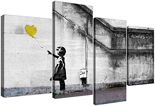 Wallfillers Banksy Balloon Girl Yellow Heart Hope Canvas Split Set of 4 51 Inches Wide 4221 product image