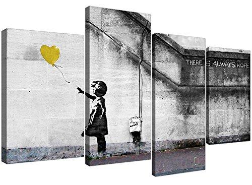 Wallfillers 4221 Leinwandbild, Motiv Banksy Ballon Girl, 4 Stück, 130 cm breit, Gelb
