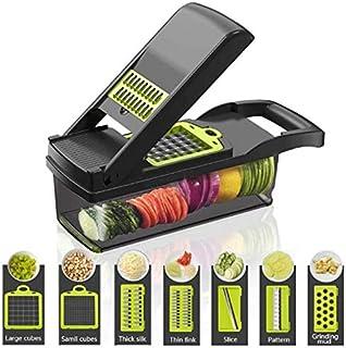Multifunktionell smart grönsaks-skivare, 7 i 1 mandolin justerbar grönsaksskärare lökhackare med stor behållare skära grön...