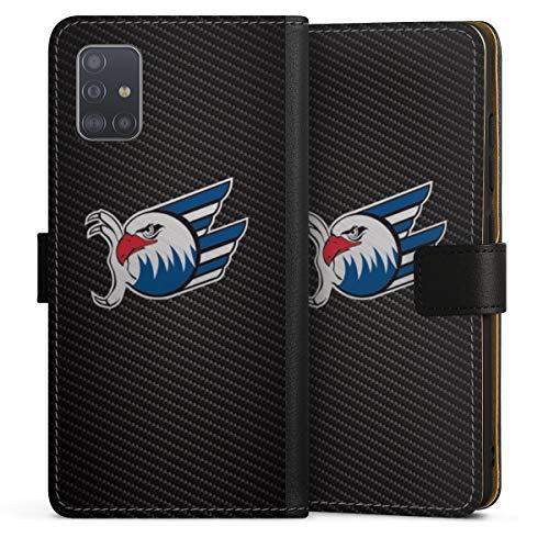DeinDesign Klapphülle kompatibel mit Samsung Galaxy A51 Handyhülle aus Leder schwarz Flip Case Adler Mannheim Eishockey Logo