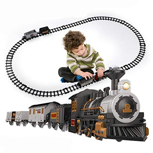 iHaHa Electric Train Set for Kids, Battery-Powered Train Toys Include Locomotive Engine, 3 Cars and 10 Tracks, Classic Toy Train Set Gifts for 3 4 5 6 Years Old Boys Girls