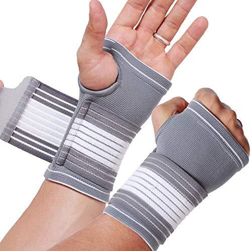 Neotech Care - Handflächenstütze mit Daumenteil (1 Paar) - verstellbarer Kompressionsriemen - elastischer & atmungsaktiver Stoff - für Sport, Bowling, Boxen - Grau - L