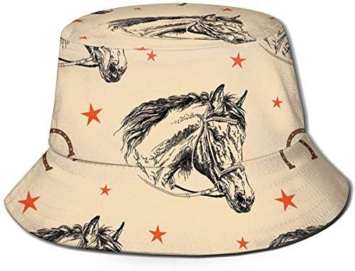 Sombrero de Cubo de Viaje con Estampado de Rayas Unisex Gorra de Pescador de Verano Sombrero para el Sol-Cabeza de Caballo