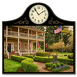 Northwest Art Mall Grant House Fort Vancouver, Washington Wood Wall Clock for Home & Office from Original Photo by Photographer Nicholas Bielemeier 12 x 18 with 5 Clock Face.