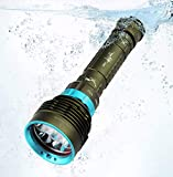 Diving Flashlight 5600 Lumens Underwater 100M Professional Scuba Safety Flashlight Rechargeable Night Submarine Torch Light with 7 CREE LED, Battery, Charger, Wrist Strap Lanyard, Waterproof O-Rings