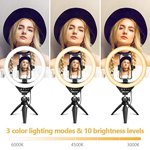 10'' Selfie Ring Light with Tripod, LED Ring Light with Desktop Tripod, Ring Light with Stand and Phone Holder, Bluetooth Remote for Live Streaming & Video Recording