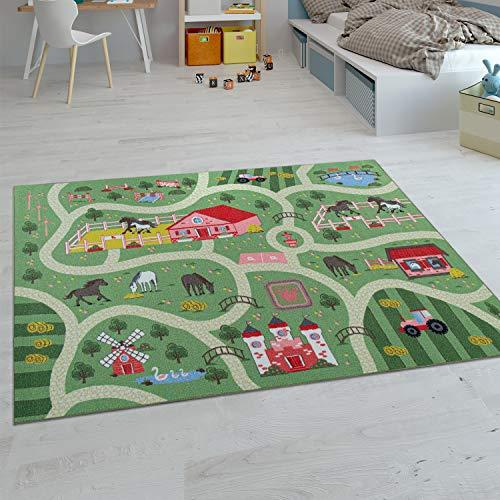 Paco Home Kinder-Teppiche, Kurzflor-Teppiche für Kinderzimmer mit vers. Designs Spielteppiche Bunt, Grösse:80x150 cm, Farbe:Grün