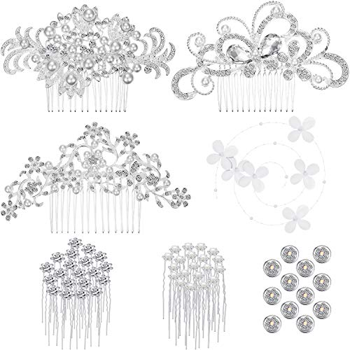 56 Pieces Wedding Bridal Hair Accessories Including Crystal Faux Pearl Comb Rhinestone Hair Pins Clips U-shaped Artificial Flower Spiral Hair Clips for Bride Bridesmaid
