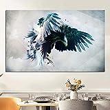 Hechuyue Águila ágil Caza Lienzo Pintura al óleo Animales Salvajes Decoración Moderna de la Pared Cartel Pintura sin Marco 70x105cm