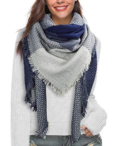 Likela Écharpe Femme Plaid Hiver Automne Longue Oversize Foulard Acrylique Confortable Tissu Grand Carreaux Châle Chaud Élégant Vogue Cape Scarf … (gris)