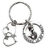 Llavero de sirena con diseño de corazones dobles con texto 'It's All About...You! Forever in My Heart 4I