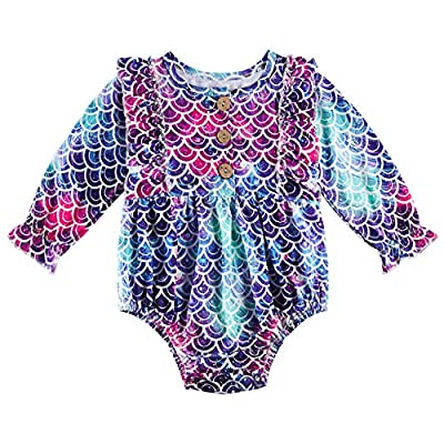 Amazon - Save 68%: uideazone Newborn Baby Girls Ruffled Rompers Infant Long Sleeve Elastic Jumps…