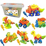 Kidtastic Set of 7 Take Apart Toys - Dinosaurs, Helicopter, Train, Truck, Motorcycle - STEM Building Set -...