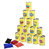 iBaseToy Carnival Games Kids Beanbag Toss Game Set 19 Pieces, Carnival Outdoor Games Tin Can Alley Game for Kids Party - 15 Tin Cans and 4 Beanbags Included