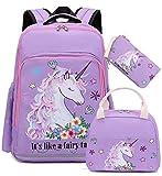 Girls Backpack for Kids Elementary Bookbag Girly School bag Children Laptop Bag (Purple-3pcs)