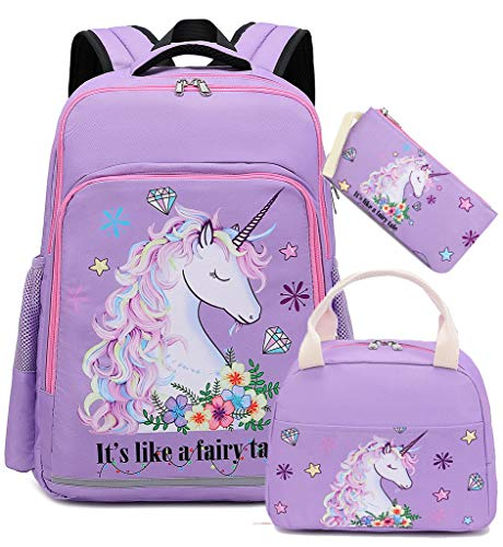 Girls Backpack Kids Elementary Bookbag Girly School Bag with Insulated Lunch Tote and Pencil Pouch (Purple - fairy unicorn 3pcs)