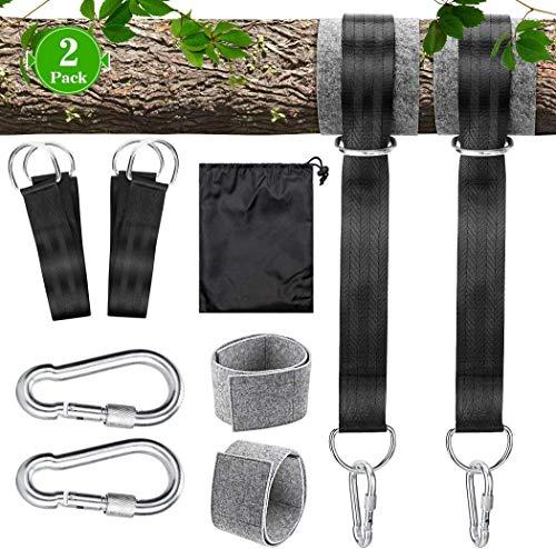 Schaukel Befestigung Hängematte Befestigung Schaukel Aufhängung Gurt Kit mit 2 Schwerlast Karabinern und D-Ringen, Aufbewahrungstasche, 2 Baumschutz Polster, hält bis zu 550 kg