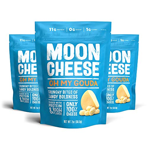 Moon Cheese Oh My Gouda, 100% Gouda Cheese Snacks, Crunchy Keto Food, Low Carb, High Protein, 2 oz. (3 Pack)