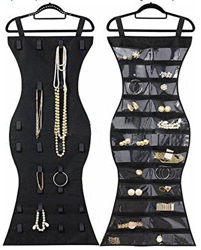 Pulchram Schmuck Organizer 24 Taschen & 16 Haken-und-Schleife Tabs doppelseitige hängende Schmuck Speicher Organizer Schrank Zubehör Halter Aufbewahrungstasche