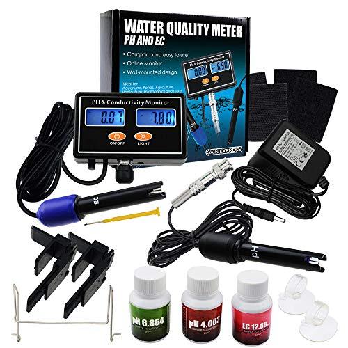 Digital PH & EC Leitfähigkeitsmonitor- Messgerätester ATC. Wasserqualität Echtzeit- Kontinuierlicher Überwachungsdetektor (Color : US Plug)