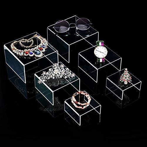 2 Sets Klare Acryl Display Risers, Schmuck Display Riser Shelf Showcase Leuchten (3 Größen B)