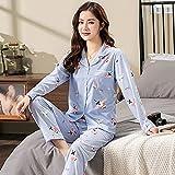 Conjunto de Pijamas para Mujer Primavera Ocio Cintura elástica Ropa de Dormir para Mujer Botones de Manga Larga Ropa de Dormir Top con Estampado de pantalón Largo Conjunto para el hogar-XL_60-70KG