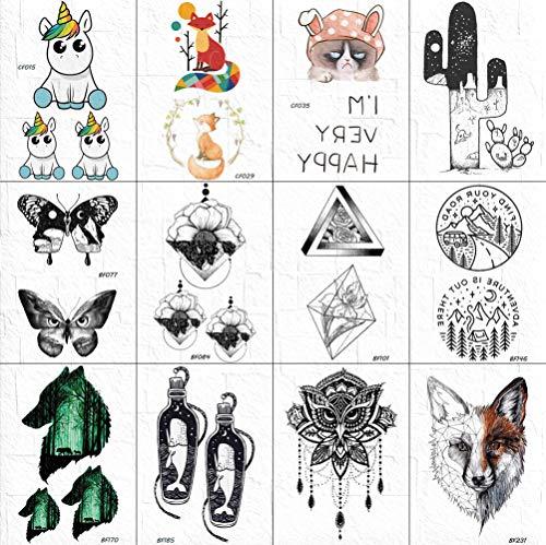 12 Pcs Bande Dessinée Bras Tatouage Autocollants Femmes Mignon Triangle Fleur Rose Tatouages Temporaire Noir Papillon Vallée Tatouage Transfert De L'Eau Decal