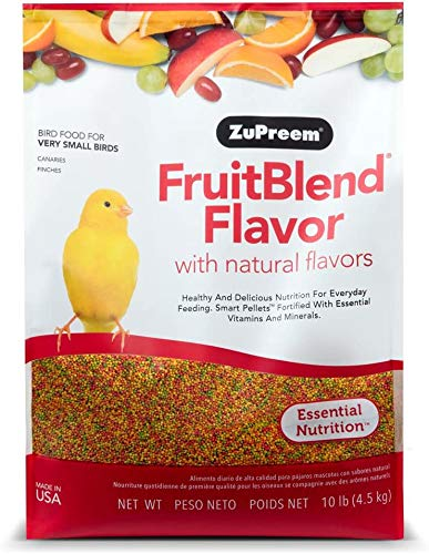 ZuPreem FruitBlend Flavor Pellets Bird Food for Very Small Birds - Powerful Pellets Made in The USA, Naturally Flavored for Canaries, Finches (10 lb Bag)