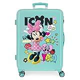 Disney Enjoy Minnie Icon Maleta Mediana Azul 48x68x26 cms Rígida ABS Cierre combinación 70L 3,7Kgs 4 Ruedas Dobles