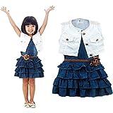 Amlaiworld Babykleidung, Heißer Kinder Mädchen Sommer Modelle Mädchen Weste Jeans Kleid + Jacke 2pc Anzüge (110)