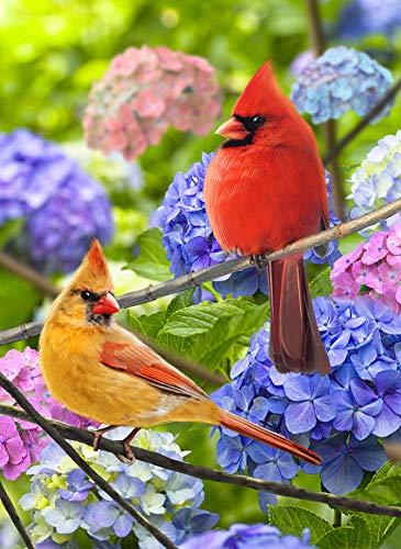 Artofy Cardinals Home Decorative Garden Flag, Summer Fall House Yard Welcome Decor Red Yellow Birds Hydrangea Flowers, Spring Autumn Outside Decorations Seasonal Outdoor Small Burlap Flag 12 x 18