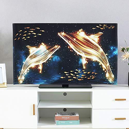 catch-L Interior Cubierta De TV LCD Patrón Dorado Cubierta De Polvo Cubierta Decorativa Cubierta (Color : Golden Dolphin, Size : 37-39inch)