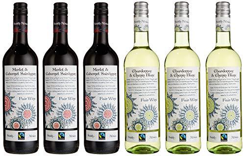 Fair Wine Fairtrade Weinpaket 3 x Chardonnay/Chenin Blanc und 3 x Merlot/Cabernet Sauvignon Blanc (6 x 0.75 l)