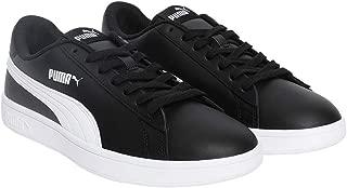 Puma Unisex's Smash v2 L Black White Leather Sneakers-5 (4059505057084)
