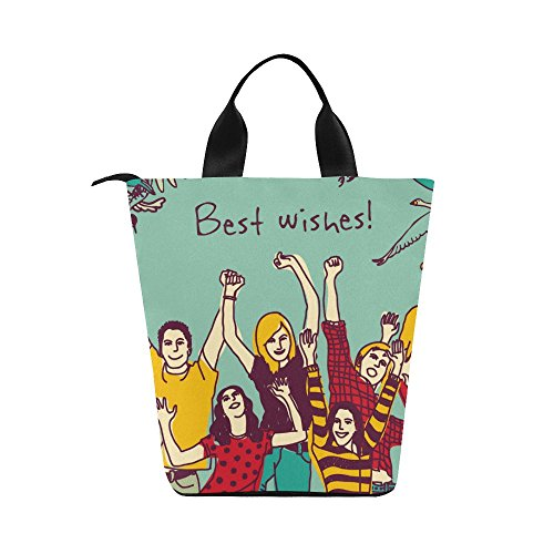 "InterestPrint Best Wishes Friends Nylon Cylinder Lunch Bag Tote Shopping Handbag, Energetic Young Man Woman Reusable Large Lunchbox Grocery Bag 12.40""x 7.28""x 12.32"""