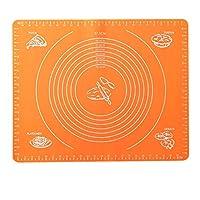 ン滑り止め クッキングマット シリコーンベーキングマット生地パッドの測定焼きパッドの圧延マットの非スティック再利用可能な調理器具のための焼きピザのパンのケーキペストリー (色 : Orange, Size : One size)