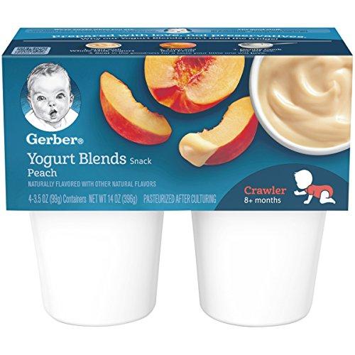 Gerber Yogurt Blends, Simply Peach, 4 - 3.5 Oz Cups (Pack of 6)