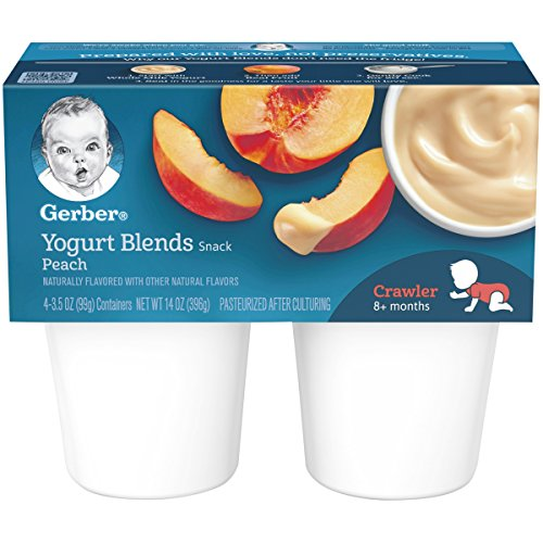 Gerber Yogurt Blends, Simply Peach, 4-Count, 3.5-Ounce Cups (Pack of 6)