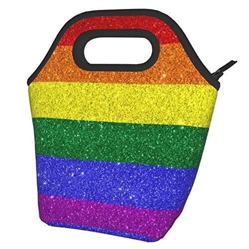 Bolsa de almuerzo con bandera de colores del arco iris brillante, lonchera reutilizable, bolsa de almuerzo portátil, bolsa de comida, bolsa de hielo para niños, niñas, mujeres adultas