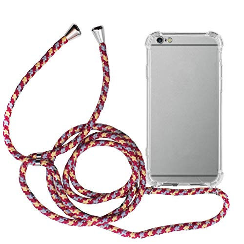 MyGadget Funda Transparente con Cordón para Apple iPhone 6 Plus / 6s Plus - Carcasa Cuerda y Esquinas Reforzadas en Silicona TPU - Case y Correa - Multicolor
