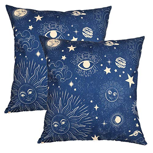 Pillow Covers Navy Sun$Moon 18x18 Set of 2, Decorative Pillowcases,Premium Imitation Linen Double-Sided Square Cushion Covers Throw Pillow Covers for Sofa Couch Bed Chair Car